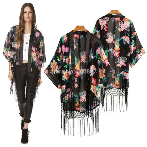 Women Summer Chiffon Blouse Half Sleeve Black Flower Tassel Cape Kimono Loose Tops Shirt Plus Size - selenekiss - 1