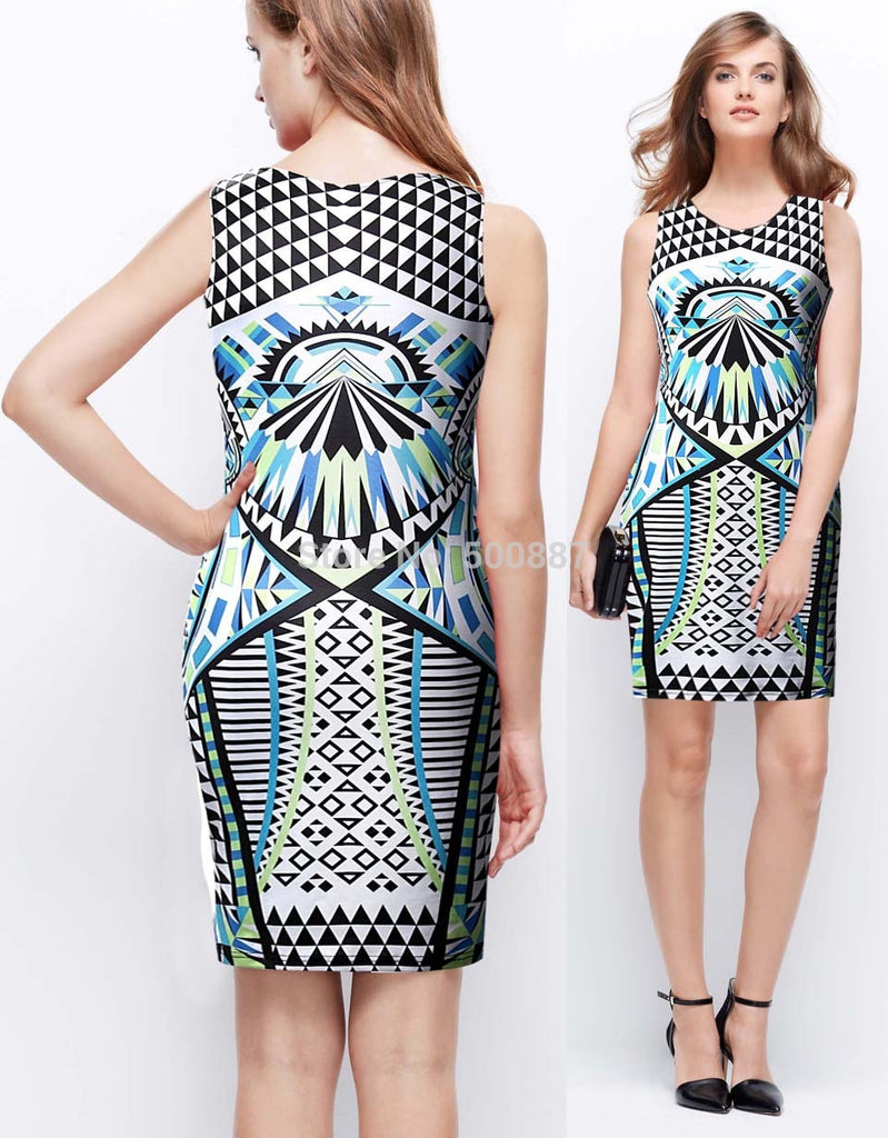 Women's Summer Sexy Sleeveless Slim Bodycon Pencil Office Cocktail Party Mini Dress - selenekiss - 1