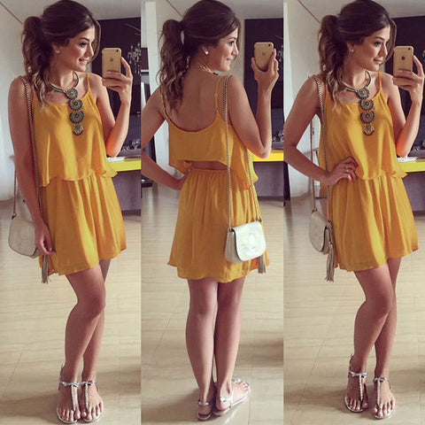 new Womens Sexy Summer Party Evening Mini Dress Casual Chiffon Strap Dress L828 - selenekiss - 1