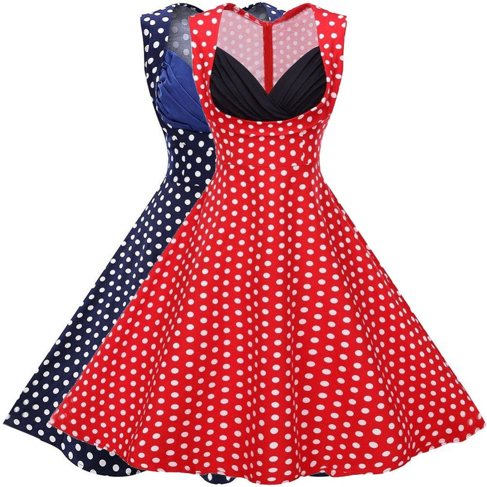 2016 Audrey Hepburn Sweet Polka Dot Princess Dresses Vintage Ball Gown Party Dress Women Sexy Plus Size Vestidos Femininos 00008 - Selenekiss