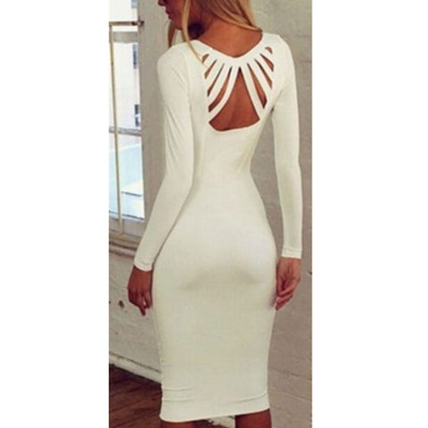 2016 Autumn Elegant Long Sleeve Pencil Dress V-Neck Sheath Dresses Slim Women Bodycon Bandage Vestidos F009 - Selenekiss