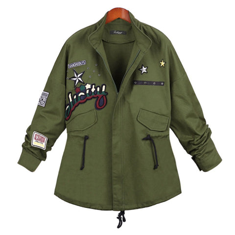 2016 Autumn Fashion Long Sleeve Women Letter Print Coat Jacket Embroidered Hoodied Loose Outwear Windbreaker Army Green W029 - Selenekiss