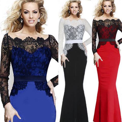 2016 Autumn Ladies Slash Neck Sexy Lace Slim Patchwork Full Length Dress Women Formal Evening Party Mermaid Long Dresses Q152 - Selenekiss