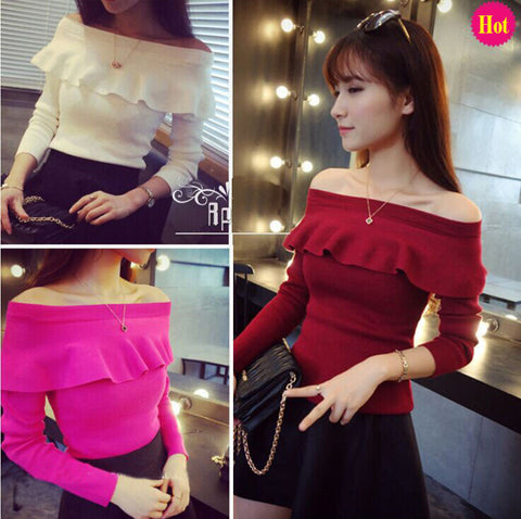 2016 Autumn Winter Basic Sweater Female Sexy Slash Neckline Strapless Pullover Ruffled Collar Slim Tops for Women Ladies P012 - Selenekiss
