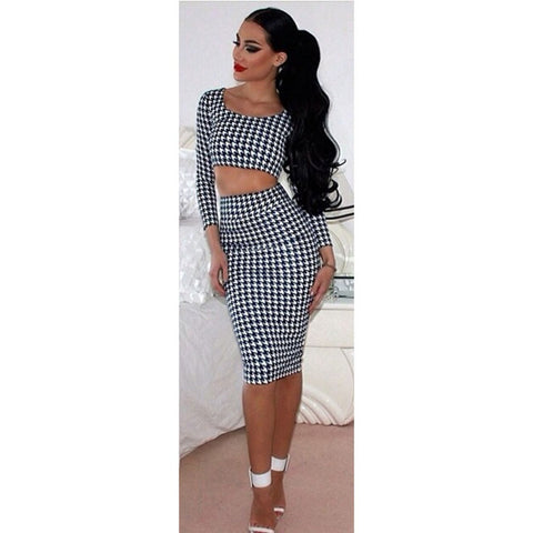 2016 Autumn Winter Bodycon Bandage Plaid Dress Women Two Piece Outfits Midi Sexy Club Party Dress J032 - Selenekiss