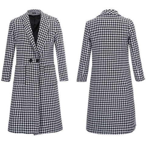 2016 Autumn Winter Coat Houndstooth Single Button Turn-Down Collar Casual Worsted Long Outerwear Trench for Women Manteau - Selenekiss