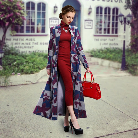 2016 Autumn Winter Europe America Women Long Wool Coat Lapel Overcoat Cashmere Trench Outerwear Manteau Femme Plus Size S-XL W079 - Selenekiss