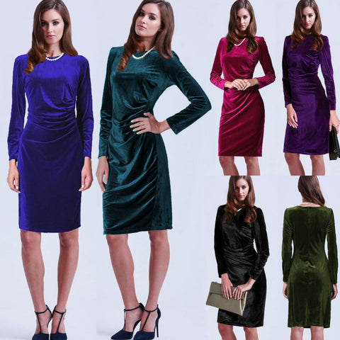2016 Autumn Winter Fashion Gold Velvet Sexy O-neck Dresses Women Long Sleeve Party Dress L977 - Selenekiss