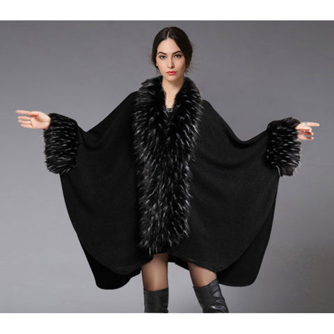 2016 Autumn & Winter New Women Luxury Fur Shawl Cape Coat Wool Loose Black Long Cloak Overcoat Tops W038 - Selenekiss