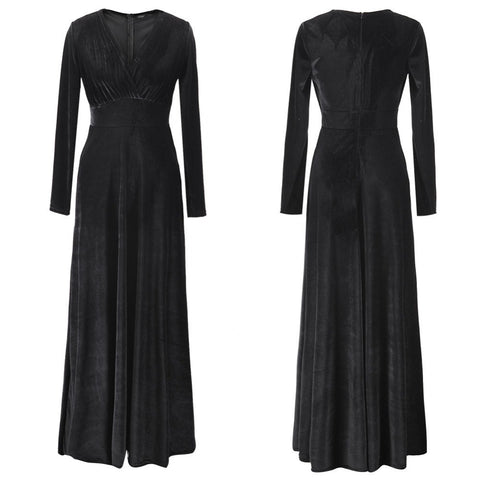 2016 Autumn Winter Women Fashion Gold Velvet Sexy V-neck Dresses Long Sleeve Party Long Maxi Dress L978 - Selenekiss