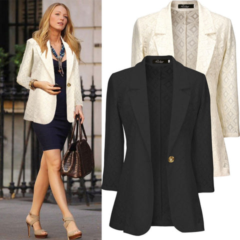 2016 Autumn Women Casual Formal Lace Blazer Feminino Lapel Long Sleeve Office Blaser Ropa Mujer Jacket Fashion Beige Black W005 - Selenekiss