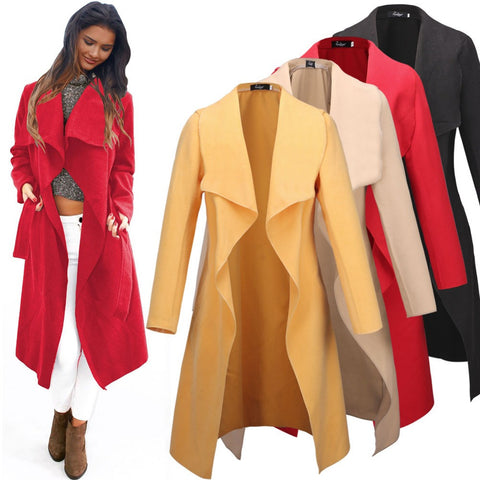 2016 Autumn Women Wool Overcoat New Design Cool Long Sleeve Coat Trench Korean Oversize Casual Loose Irregular Cardigan W069 - Selenekiss