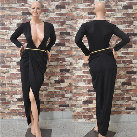 2016 Black Loose Sexy Dress Long Sleeve Deep V Neck Dresses Women Long Maxi Dress Robe Irregular J013 - Selenekiss