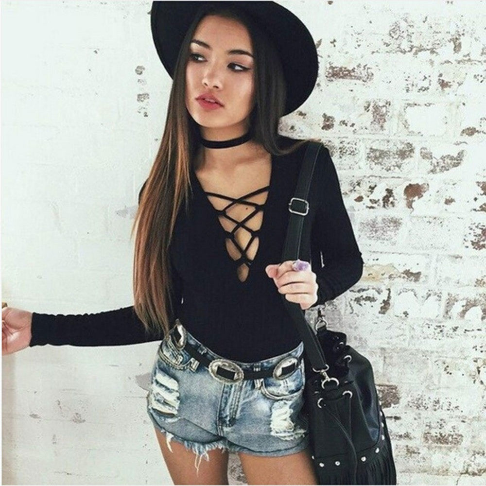2016 Black Rompers Women Gray Sexy Bandage Jumpsuit Macacao Feminino Bodycon Jumpsuits Overalls For Women P037 - Selenekiss