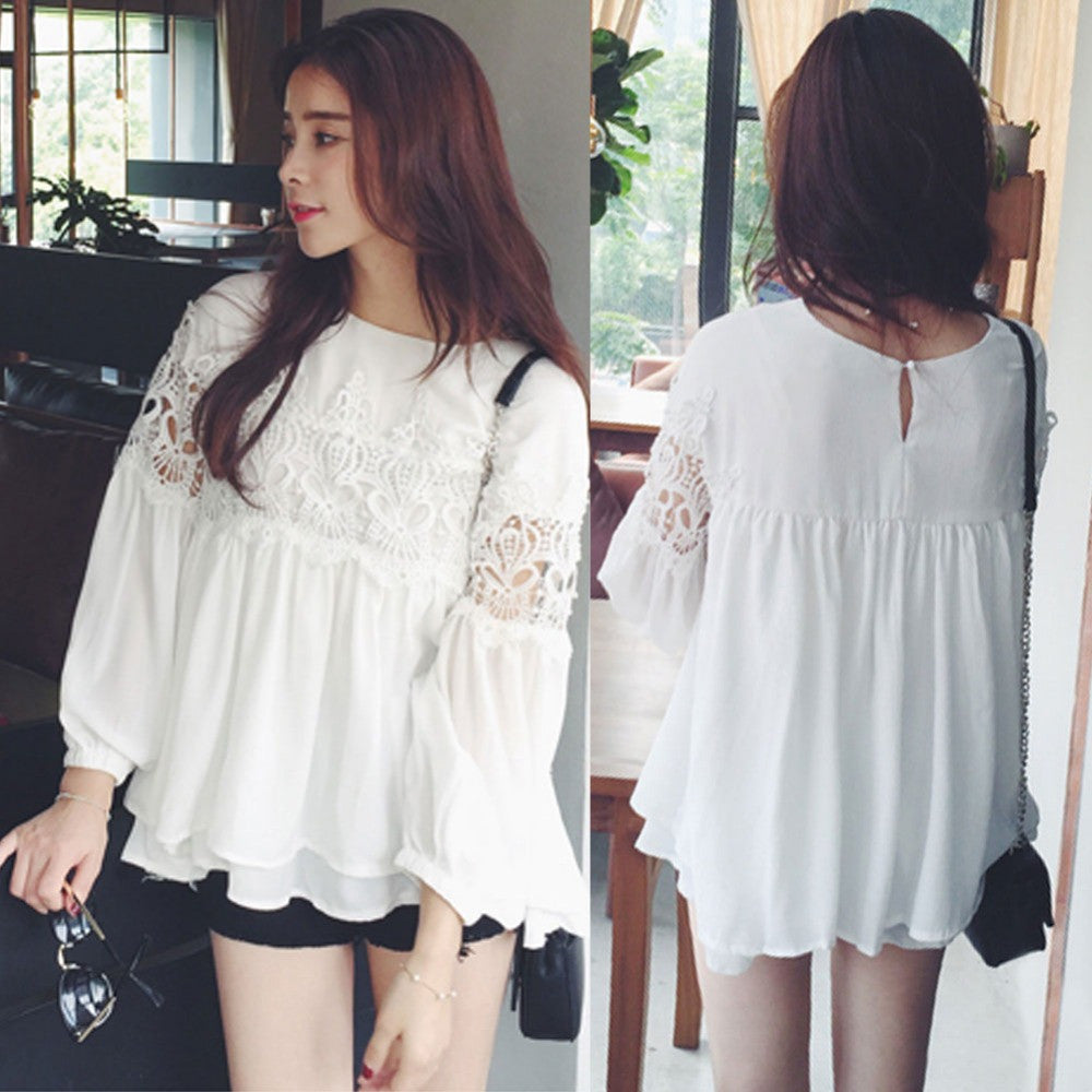2016 Brand New Ladies Chiffon Blouse Hollow Sexy Casual Shirt Plus Size Blusas Bluse Long Lantern Sleeve Women Tops P001 - Selenekiss