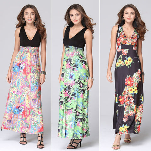 2016 Brand New Summer Women Black Floral Print Dresses V-Neck Beach Boho Long Maxi Dresses Sundress Plus Size L796 - Selenekiss