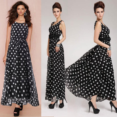2016 Brand New Summer Women O-Neck Sleeveless Polka Dot Print Dress Casual Long Maxi Slim Beach Dresses Vestidos Plus Size 3320 - Selenekiss