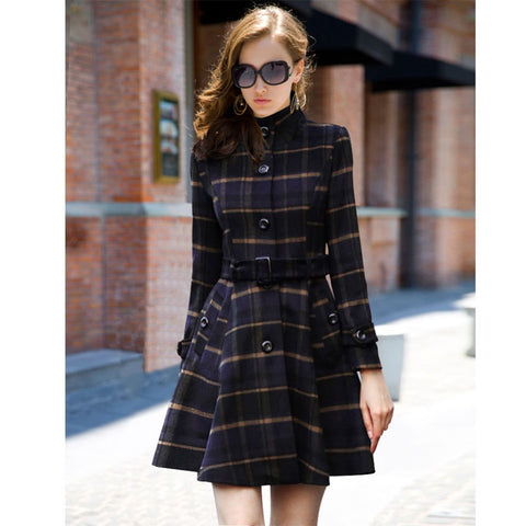 2016 Casaco Feminino Autumn Fashion Brand Design Women Outer Clothing Casual Blue Long Sleeve Plaid Belt Coat W056 - Selenekiss