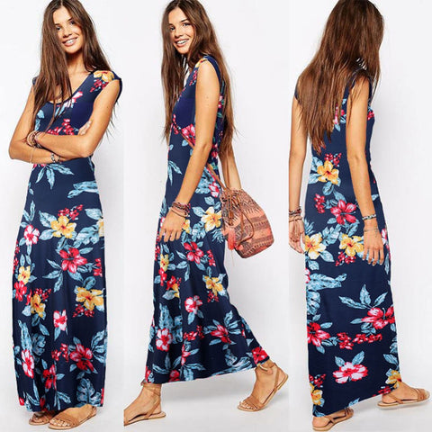 2016 Elegant Women Summer Vintage Bohemian Boho Sexy Dresses O Neck Floral Print Casual Party Maxi Long Dress Vestidos L935 - Selenekiss