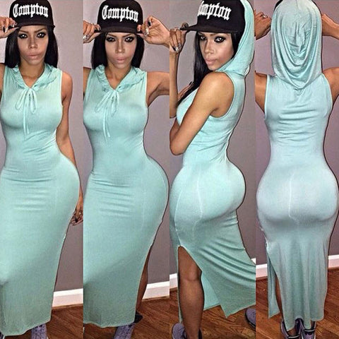 2016 Europe Sexy Nigh Club Dress Summer Sleeveless Hooded Robe Side Slit Blue Long Bandage Bodycon Dresses F055 F056 - Selenekiss