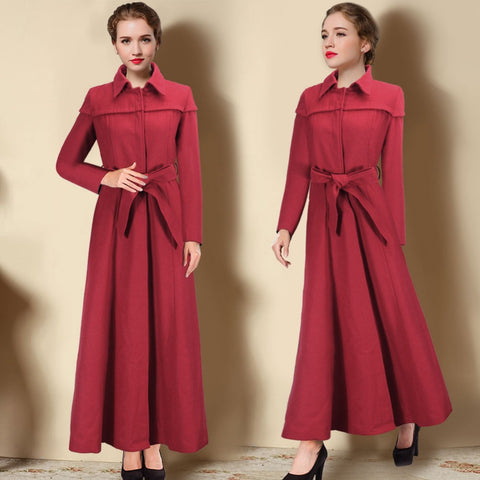 2016 Fall Winter Women Coat Long Wool Coats Fashion Elegant European Trench Jacket Overcoat Outerwear Abrigos Mujer W067 - Selenekiss