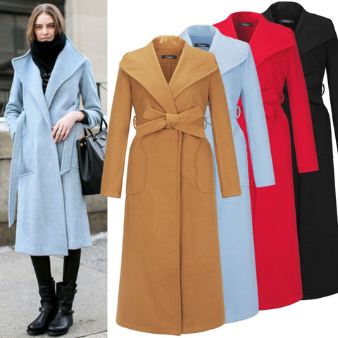 2016 Fashion Design Winter Women Wool Coat Trench European Warm Overcoat Manteau Abrigos Mujer Plus Size W075 - Selenekiss