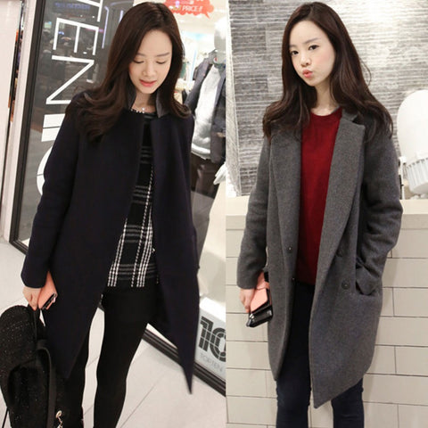 2016 Fashion Elegant Women Winter Slim Long Wool Coat Black Gray Cashmere Overcoat Turn Down Collar Lady Outerwear Korean P020 - Selenekiss