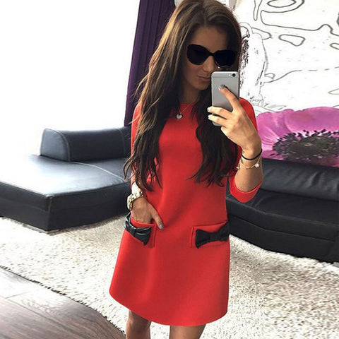 2016 Fashion Sexy Three Quarter Sleeve Bowknot Short Mini Straight Dresses Ladies Vintage Office Work T-shirt Dress 00009 - Selenekiss