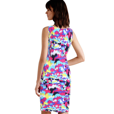2016 Fashion Summer Women Vintage Pencil Dresses Ladies Sleeveless Casual Bodycon Floral Print Dress 8025 - Selenekiss