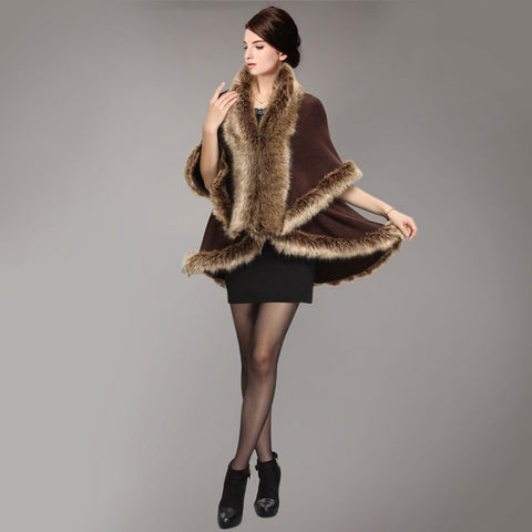 2016 Fashion Women Winter Faux Fur Wool Warm Coat Elegant Party Evening Shawl Cape W050 - Selenekiss