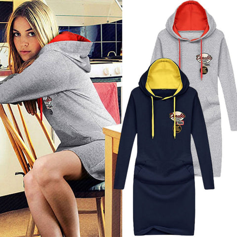 2016 Fashion Women Winter Hoodies Sweatshirts Pullover Slim Hip Long Casual Embroidery Hoody sudaderas mujer Plus Size W006 - Selenekiss