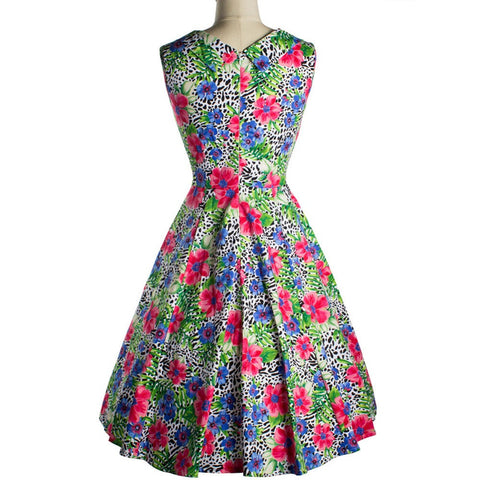 2016 Floral Printed Dress Audrey Hepburn Party Evening Elegant Sleeveless Dresses 50s Summer Vintage Vestidos 00005 - Selenekiss