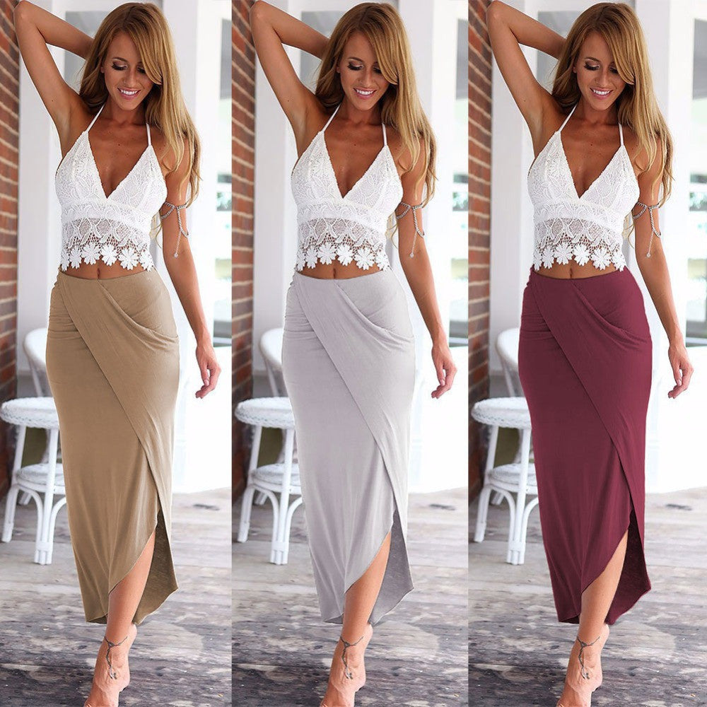 2016 Hot New Boho Women Summer Halter Sexy Backless V Neck Tops Shirt Wrap Long Maxi Beach Dress 2 Pieces Set L928 - Selenekiss