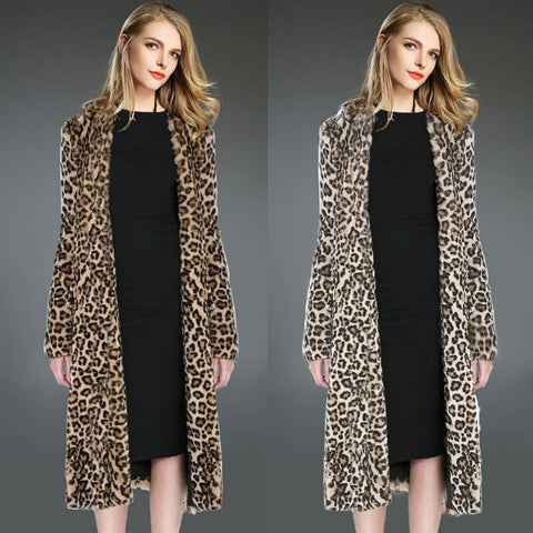 2016 Hot Women's Fashion Leopard Faux Fur Coat Overcoat Lapel Long Sleeve X-Long Outerwear Loose Jackets Cardigan Manteau W078 - Selenekiss