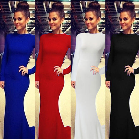 2016 Ladies Elegant Red Black Long Maxi Dress Women Formal Trumpet Mermaid Cross Sexy Backless Dresses Vestido De Festa Q153 - Selenekiss