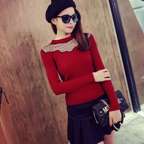 2016 Ladies Knitted Sweater Shirt Autumn Lace Polka Dot Women Tops Sexy Long Sleeve Slim Pullovers P016 - Selenekiss