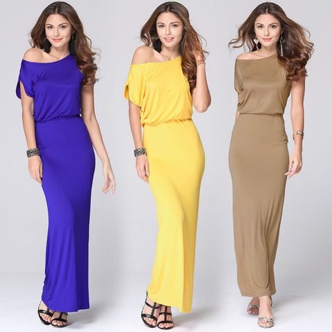 2016 Lowest Price Fashion Summer Women Long Maxi Dresses One Shoulder Wrap Loose Casual Dress Ladies Vestidos Plus Size L969 - Selenekiss