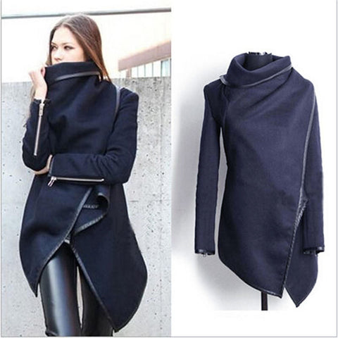 2016 Manteau Abrigos Mujer Autumn Winter Women Wool Coat Cardigan Cross Irregular Long Sleeve Warm Overcoat Jacket Plus Size 220 - Selenekiss