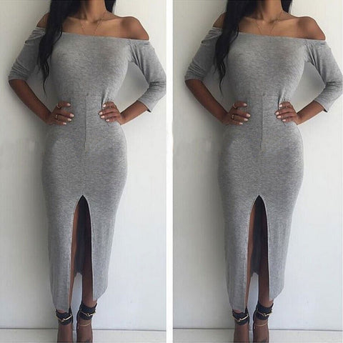 2016 New Arrival Women Slit Sexy Strapless Dresses Long Sleeve Off Shoulder Bodycon Bandage Dress Brief J020 - Selenekiss