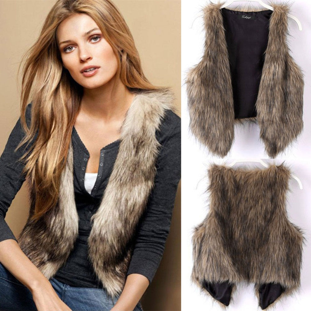 2016 New Autumn & Winter Fashion Women Faux Fur Vest Gilet Tank Jacket Sleeveless Short Outwear Waistcoat H035 - Selenekiss