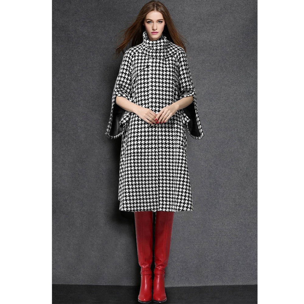 2016 New Autumn Winter Long Wool Blend Coat Houndstooth Plaid Stand Scarf Collar Slim Warm Overcoat Outerwear manteau femme W031 - Selenekiss