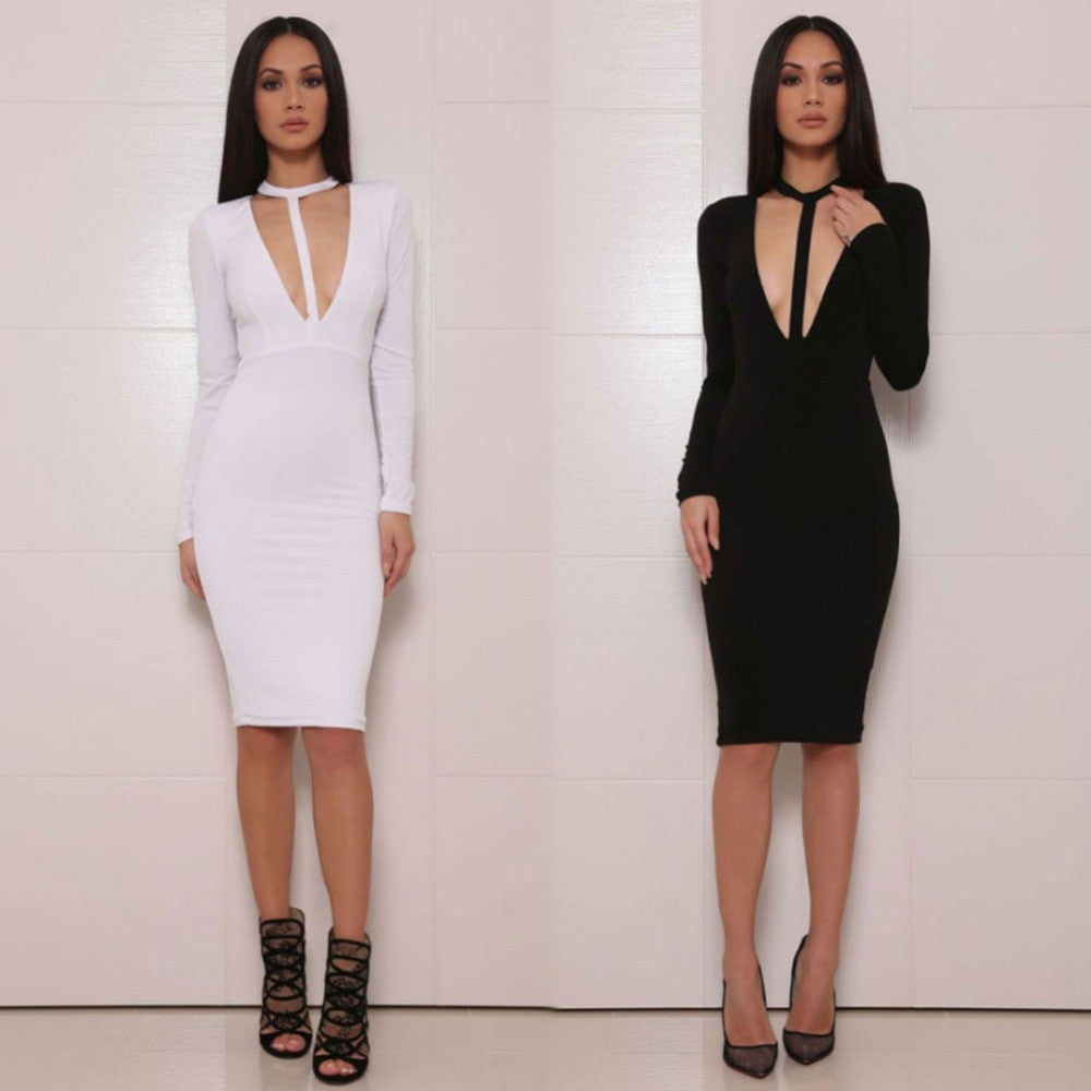 2016 New Autumn Women Deep V Neck Dress Black Bodycon Dress Sexy Club Party Fashion Women Midi Bandage Dresses Vestido F008 - Selenekiss