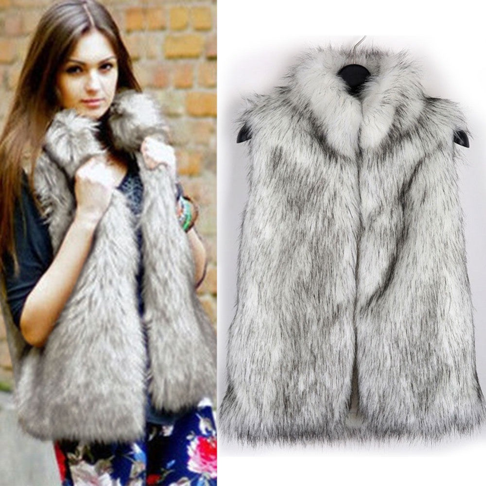 2016 New Autumn Women Faux Fur Vest Waistcoat Fashion Warm Shaggy Sleeveless Veste Femme Plus Size H051 - Selenekiss