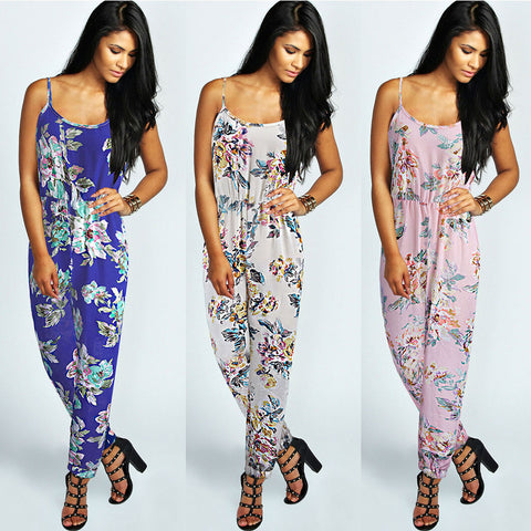 2016 New Chiffon Overalls Sexy Bodysuit Floral Flowers Print Jumpsuits Full Length Pant High Waist Playsuit Women L860 - Selenekiss