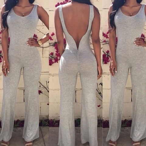 2016 New Fashion Sexy Backless Women Jumpsuits Ladies Club Bandage Bodysuit Overalls Summer Sleeveless Gray Bodycon Rompers F057 - Selenekiss