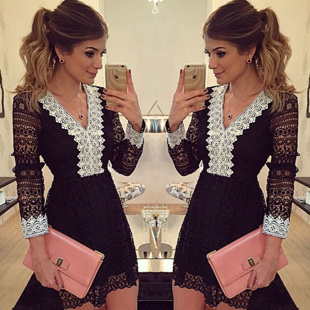 2016 New Fashion V-neck Long Sleeve Sexy Lace Dress Black Hollow out Bandage Clubwear Dresses Vestidos P059 - Selenekiss