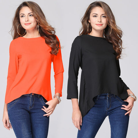 2016 New Fashion Women Blouse 3XL Sexy Back Slit Loose Chiffon Tops Shirt Ladies Casual Long Sleeve Blouses Plus Size L805 - Selenekiss