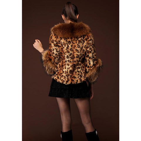 2016 New Ladies Evening Party Shawl Parka Winter Women Faux Leopard Fur Warm Coat Outerwear H036 - Selenekiss