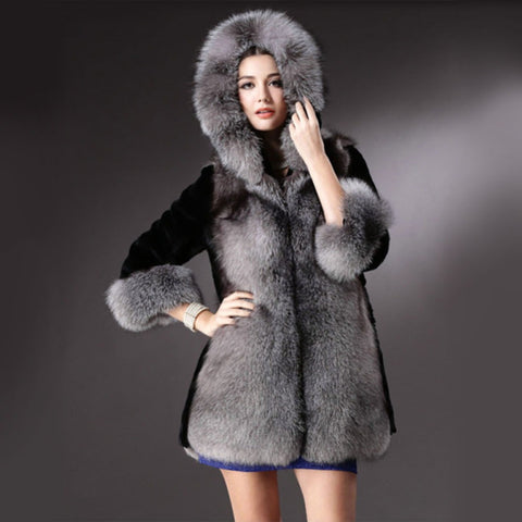 2016 New Ladies Fashion Hooded Faux Fur Collar Warm Long Outerwear Parka Winter Women Imitation Mink Fur Coat Jacket H031 - Selenekiss