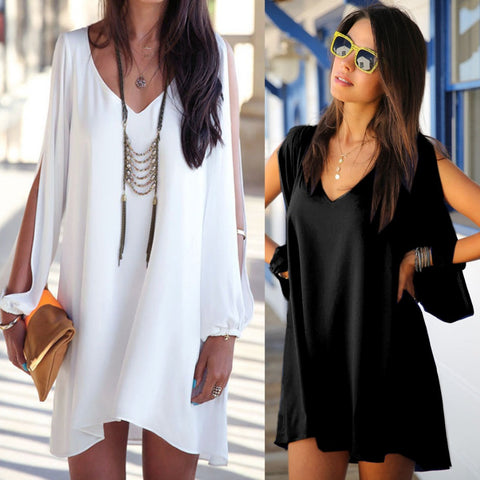 2016 New Summer Short Women Chiffon Dress Loose Sexy V Neck A-line Casual Mini Shirt Dress White Beach Dresses 4900 - Selenekiss